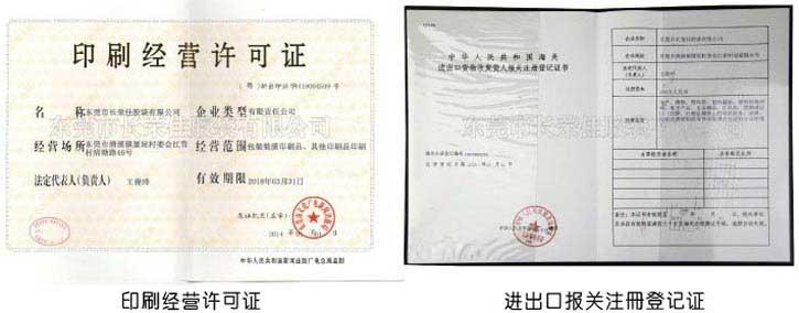 印刷许可、出口登记